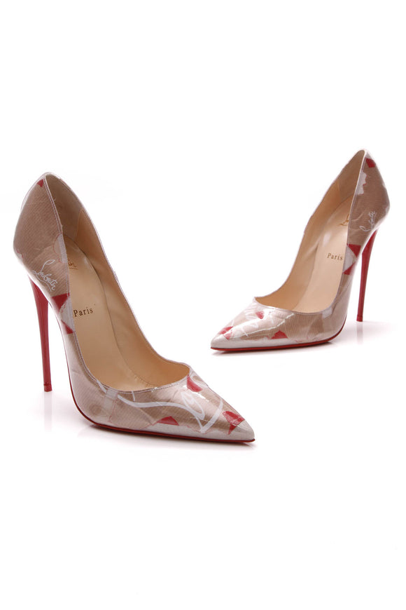 Christian Louboutin So Kate Kraft 120 Pumps Brown Red PVC Size 42