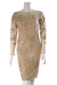David Meister Floral Lace Dress Gold Size 2