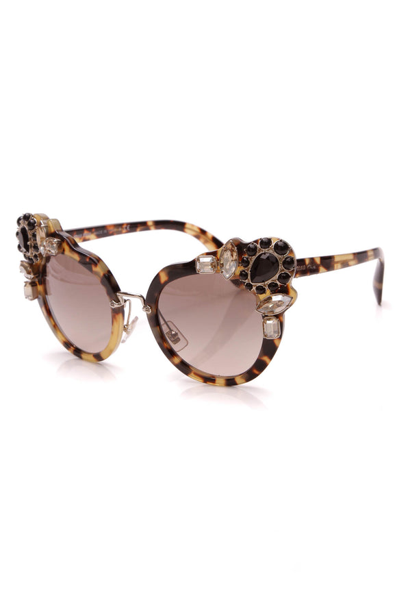 Miu Miu Crystal Embellished Cat-Eye Sunglasses MU04SS Tortoiseshell Brown