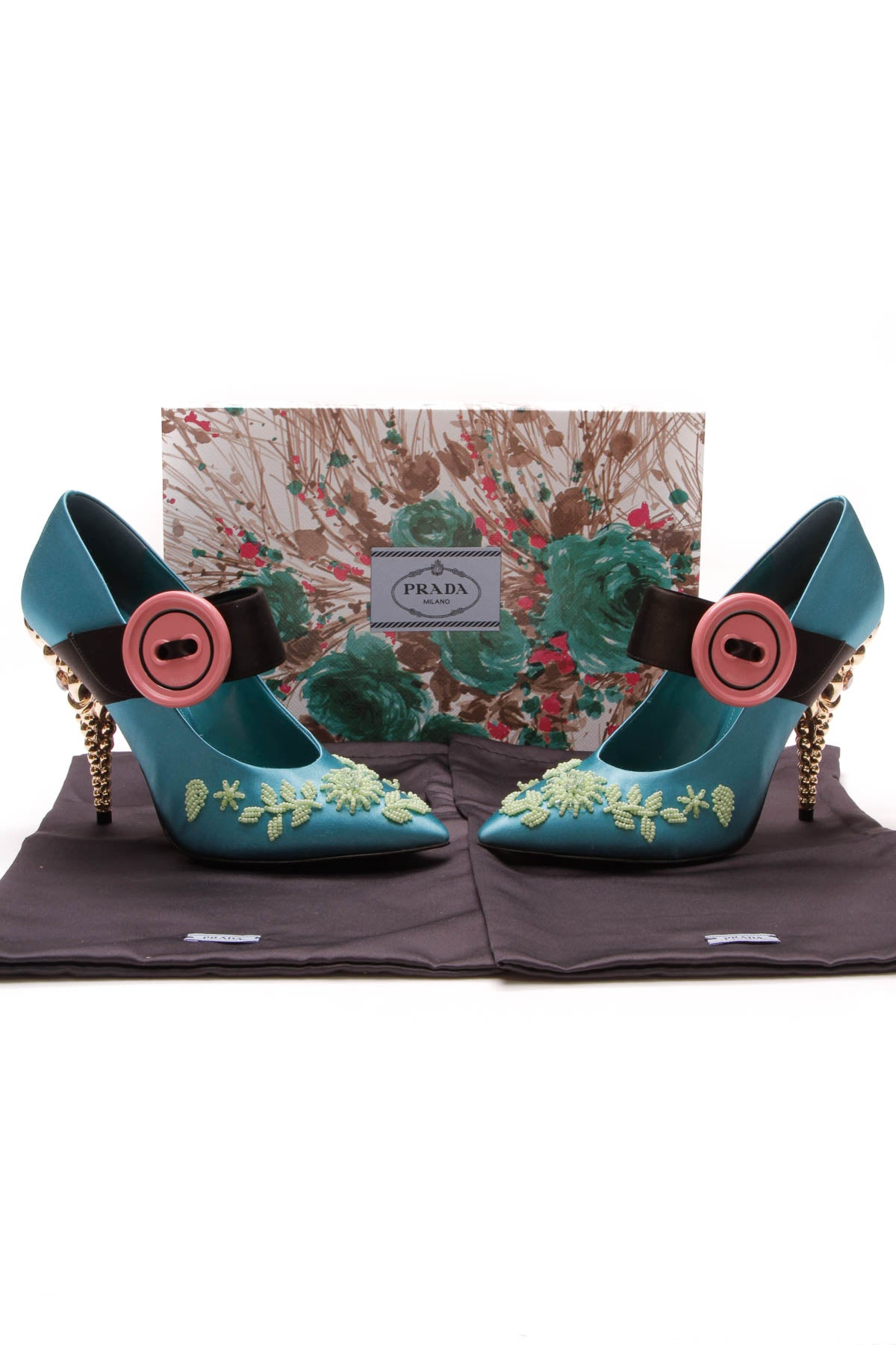 Beaded Satin Mary Jane Button Pumps - Pavone/Verde Size 38