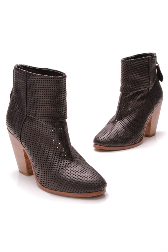 Rag and Bone Newbury Perforated Ankle Boots Black Size 39