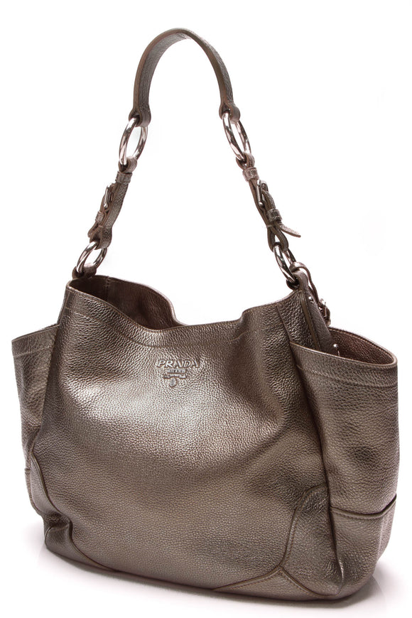 Prada Vitello Daino Metallic Pocket Tote Bag Peltro Gray