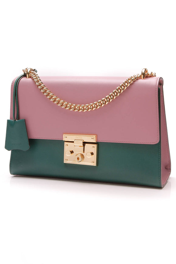 Gucci Medium Padlock Shoulder Bag Pink Green