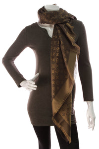 Louis Vuitton Shine Shawl Scarf Brown Monogram