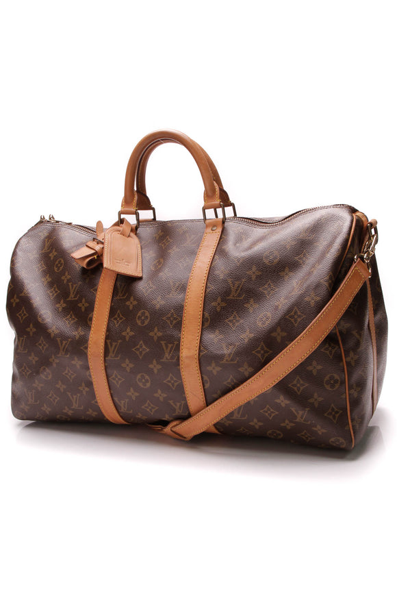 Louis Vuitton Vintage Keepall Bandouliere 50 Travel Bag Monogram Brown