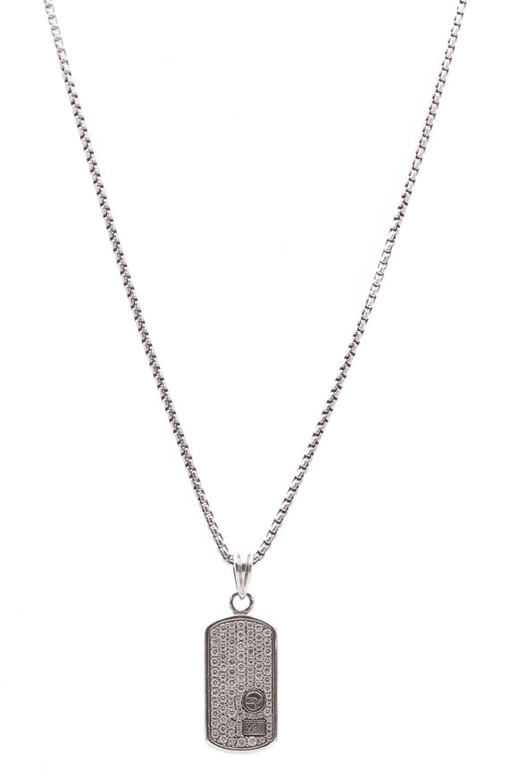 David Yurman Pave Diamond Dog Tag Pendant Necklace Silver