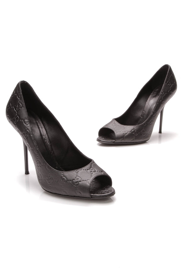 Gucci Peep-Toe Pumps Black Guccissima Size 40.5