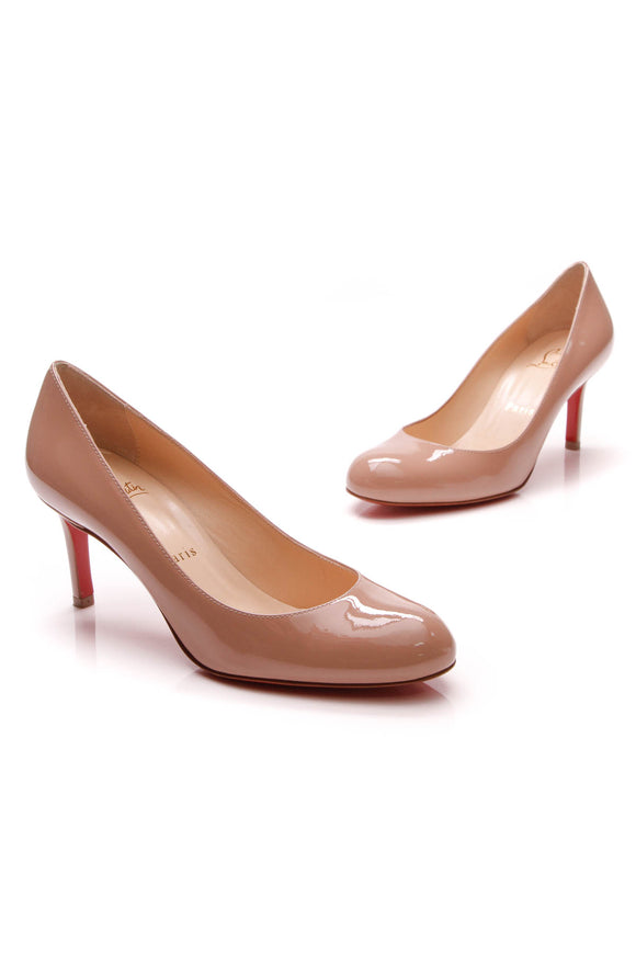 Christian Louboutin Simple Pumps Nude Patent Size 36.5