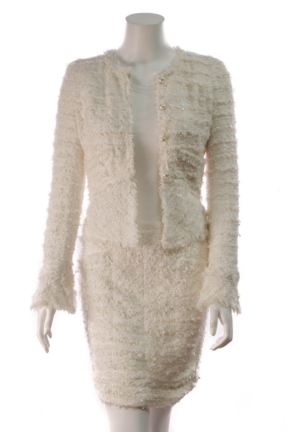 Chanel Tweed Skirt Suit White Size 34