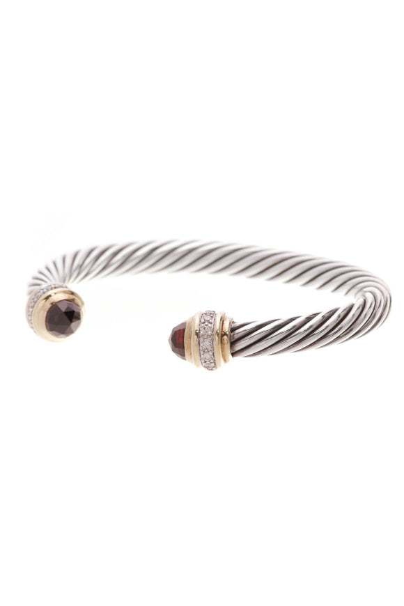 David Yurman 7mm Garnet Diamond Cable Classics Bracelet Silver Yellow Gold