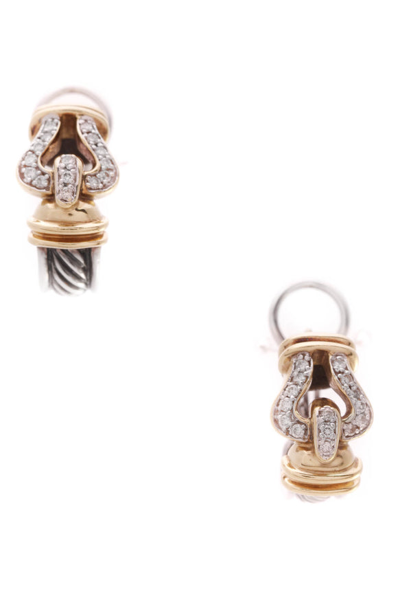 David Yurman Diamond Buckle Earrings Silver Yellow Gold