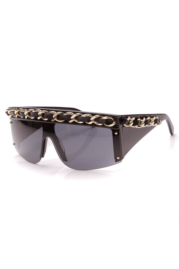 Chanel Vintage Chain Shield Sunglasses 0026 Black