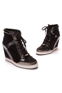 Jimmy Choo Panama Wedge Sneakers Black Suede Patent Size 41
