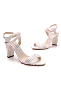 Jimmy Choo Marine 85mm Micro-Studded Heeled Sandals Chalk Size 38.5 White