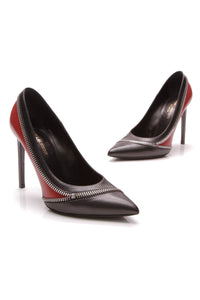 Yves Saint Laurent YSL Zip Paris 105mm Pumps Black Red Size 38.5