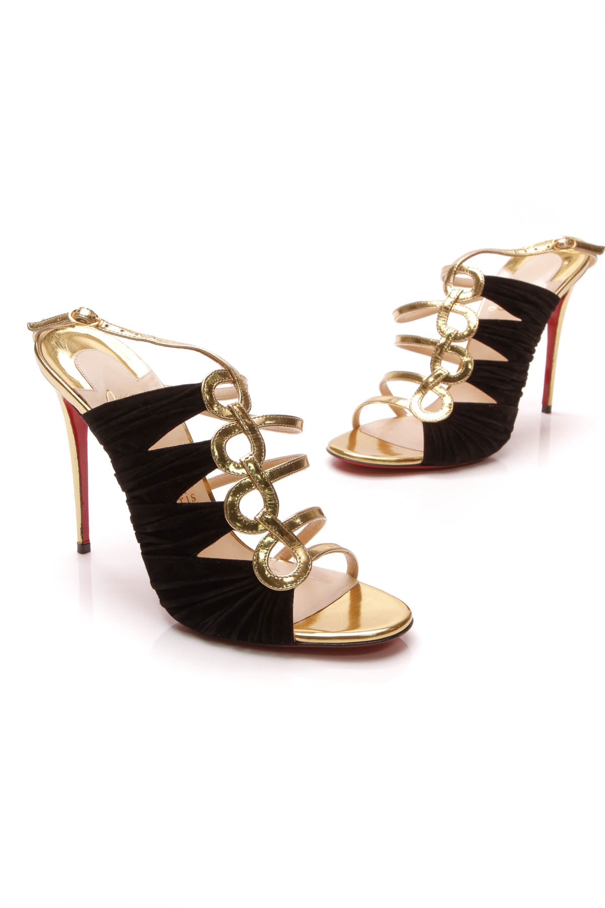 newest e082a db0a1 Christian Louboutin Tina Ruched Cage Heeled Strappy Sandals ...