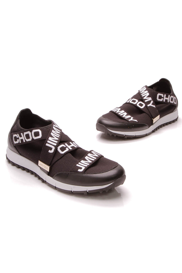 Jimmy Choo Toronto Logo Sneakers Black White Size 38