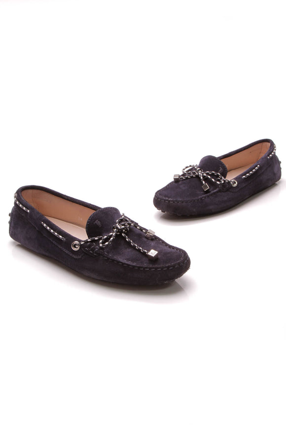 TOD'S Moccasin Driving Loafers Navy Suede Size 38