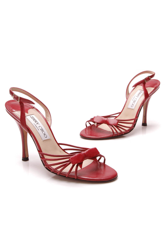 Jimmy Choo Essence Bow Sandals Red Size 36