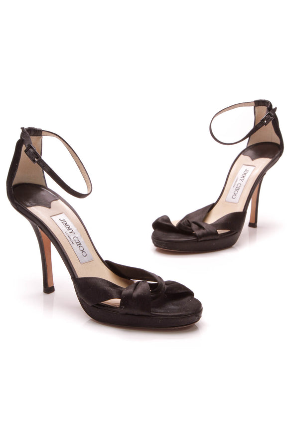 Prada Marion Heeled Sandals Black Satin Size 36