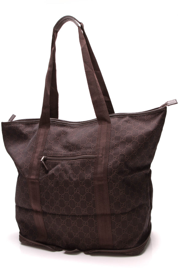 Gucci Folding Tote Bag Brown Signature Canvas