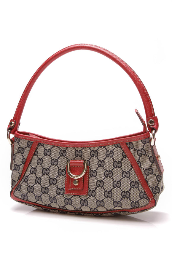 Gucci D-Ring Abbey Pochette Bag Navy Signature Canvas Red
