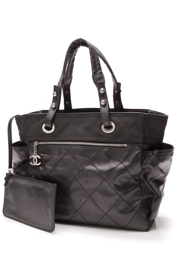 Chanel Paris Biarritz Grand Shopping Tote Bag Black