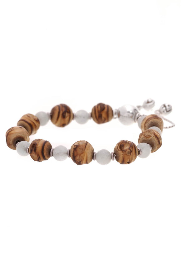 Gucci Bamboo Stone Bead Bracelet Silver Brown