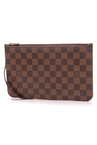 Louis Vuitton Neverfull Pouch Wristlet Damier Ebene Brown