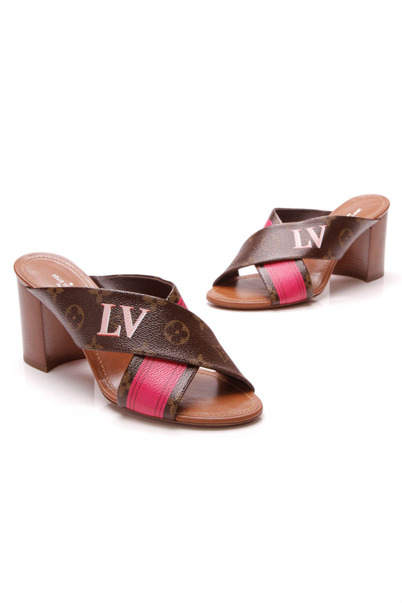 Louis Vuitton Summer Trunks Panorama Mule Sandals Monogram Pink Size 37.5