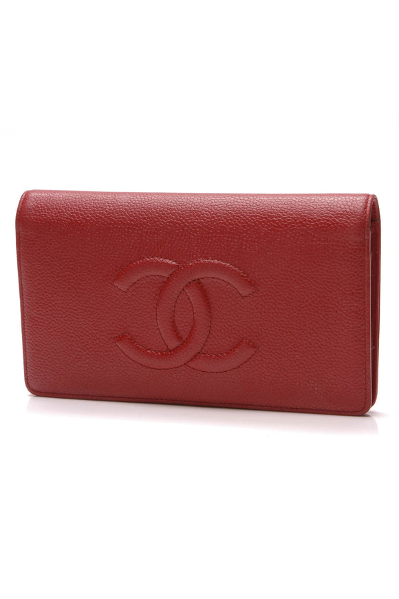 Chanel Timeless Yen Wallet Red Caviar
