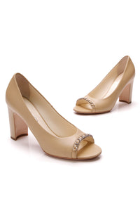 Chanel Peep-Toe Chain Pumps Beige Size 39.5