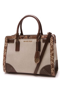 Michael Kors Dillon Embossed Frame Satchel Bag Canvas Beige Brown
