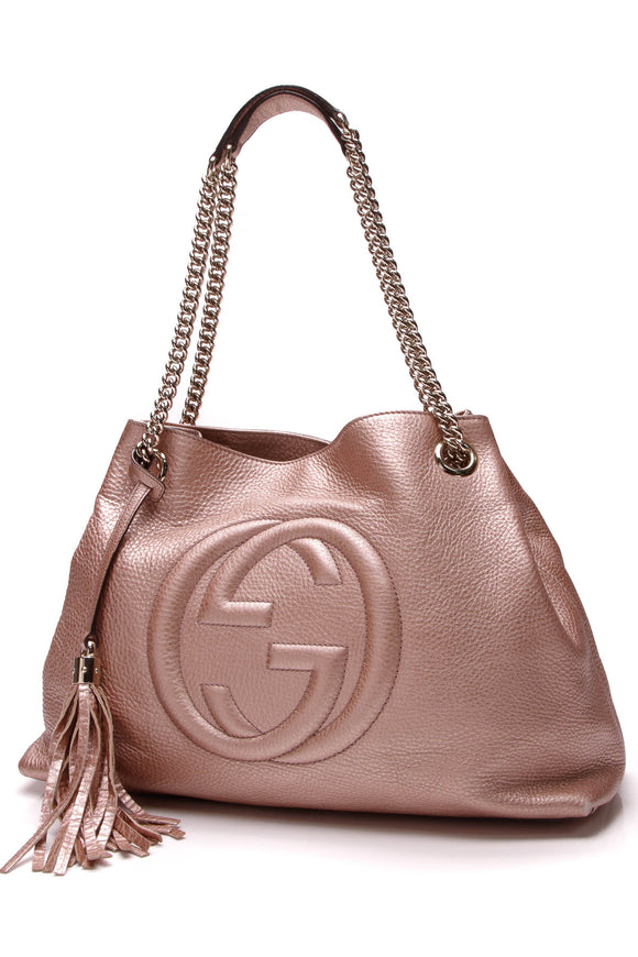 Gucci Soho Chain Tote Bag Metallic Pink