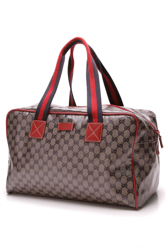 Gucci Web Carryall Duffle Bag Navy Crystal Canvas Red