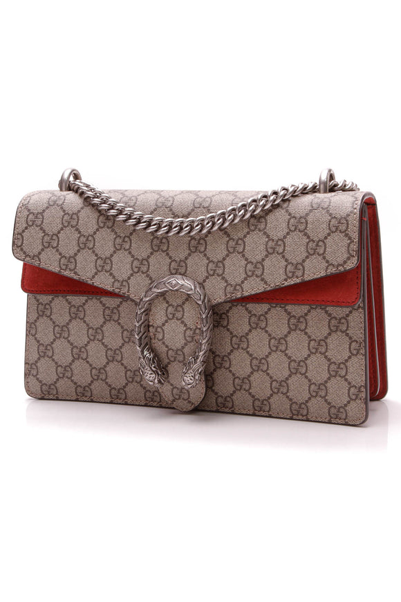 Gucci Dionysus Small Shoulder Bag Supreme Canvas Beige Red