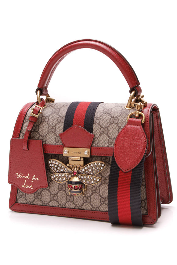 Gucci Queen Margaret Top Handle Bag Supreme Canvas Beige Red