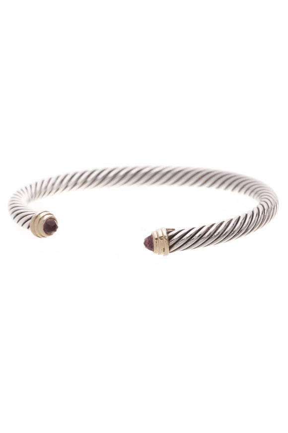 David Yurman 5mm Amethyst Cable Classic Bracelet Silver Gold