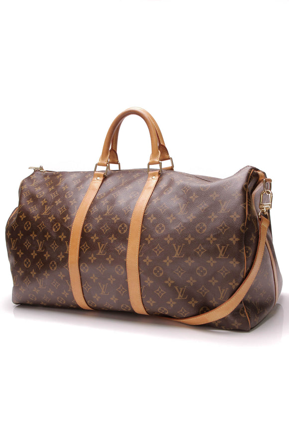 Louis Vuitton Keepall Bandouliere 55 Travel Bag Monogram Brown