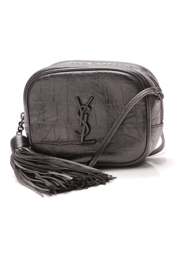 Yves Saint Laurent YSL Embossed Blogger Bag Black