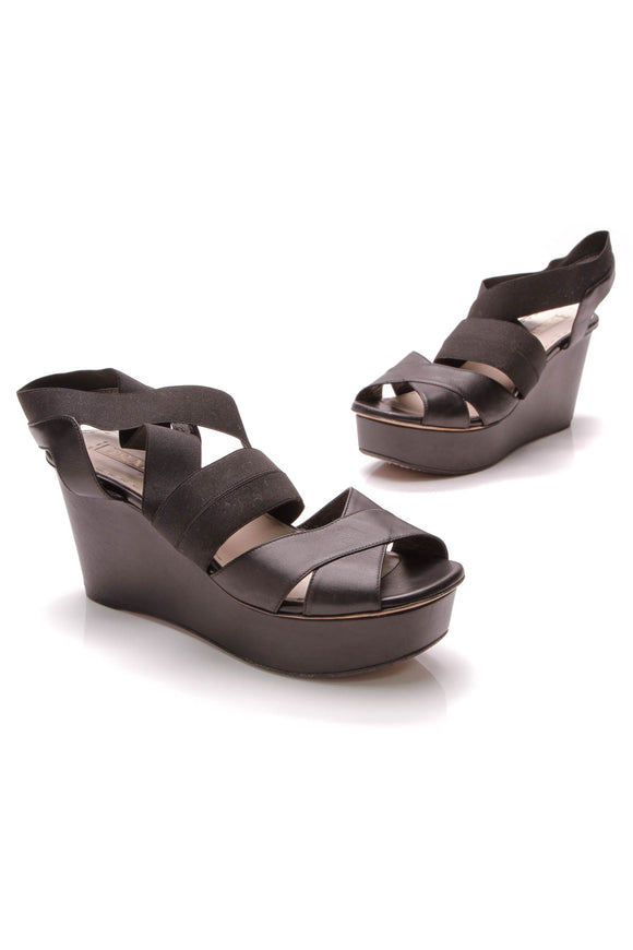 Prada Platform Wedge Sandals Black Size 40