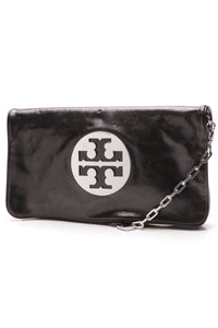 Tory Burch Reva Oversized Clutch Bag Black Silver