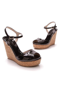Jimmy Choo Perla Wedge Sandals Black Patent Size 38