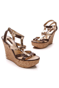 Louis Vuitton Open-Toe T-strap Cork Wedges Monogram Gold Size 38.5