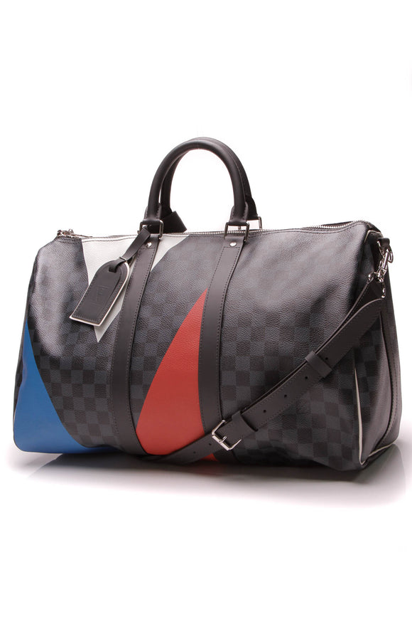 Louis Vuitton America's Cup Keepall Bandouliere 45 Travel Bag Damier Cobalt
