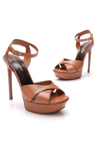 Yves Saint Laurent YSL Bianca Platform Heeled Sandals Brown Size 38.5