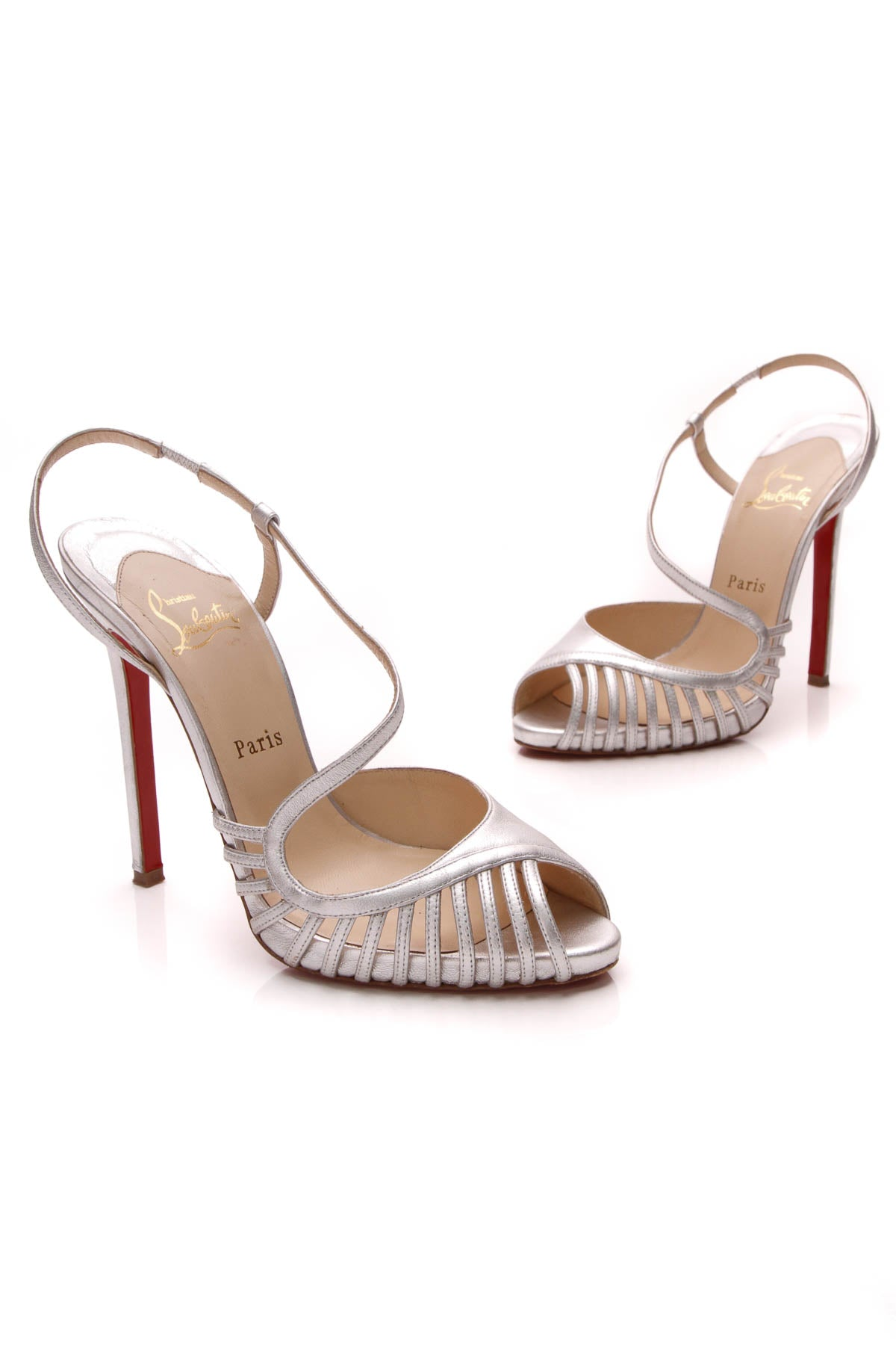 buy popular a2af5 78227 Christian Louboutin Caged Strappy Heels - Silver Size 39 ...