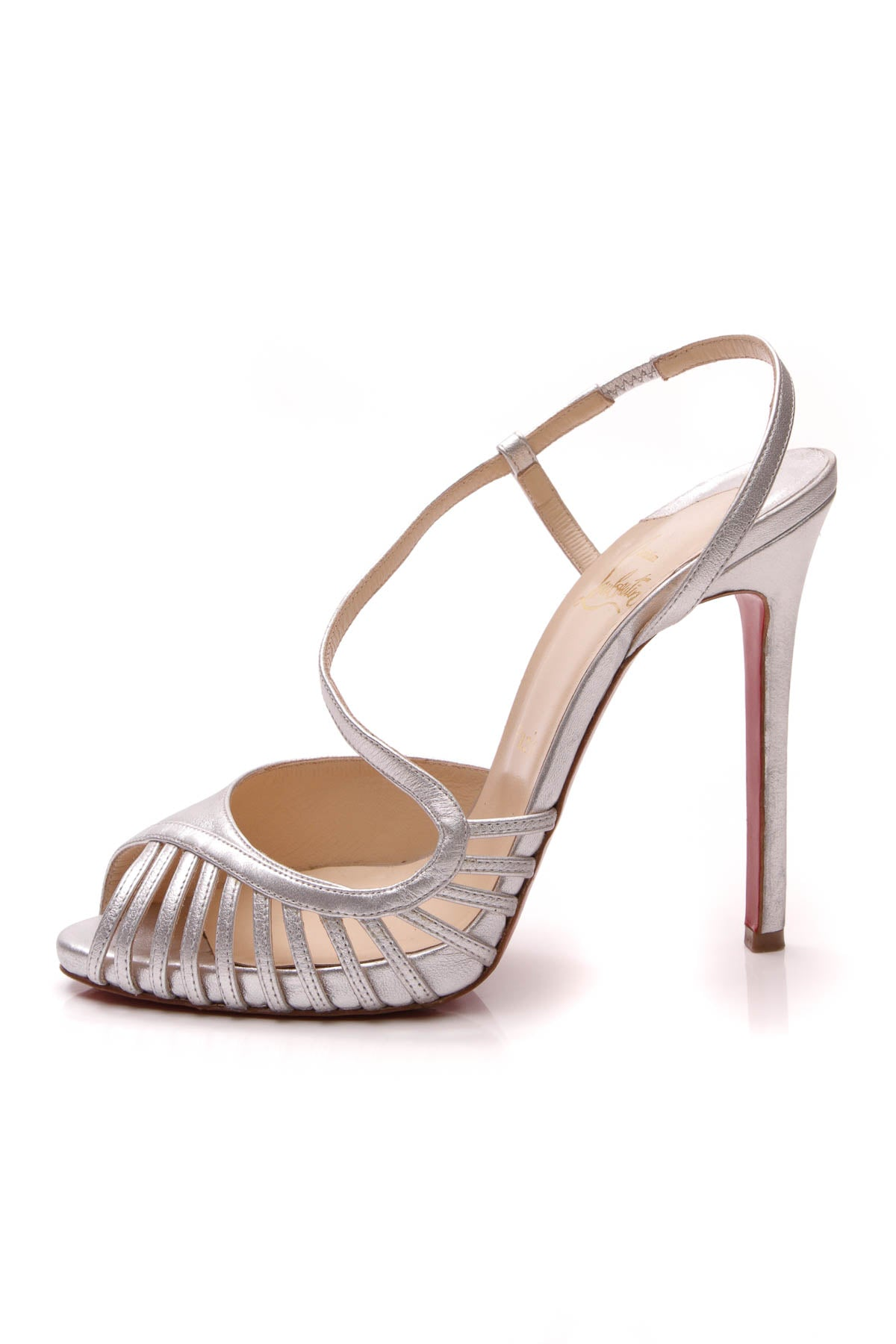 buy popular f58b0 7b753 Christian Louboutin Caged Strappy Heels - Silver Size 39 ...