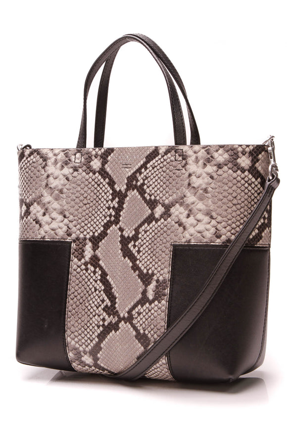 Tory Burch Block-T Embossed Mini Tote Bag Black