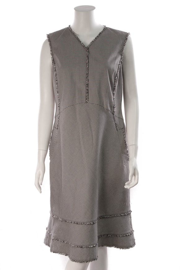 Altuzarra Tiered Gingham Dress Black White Size 46